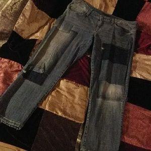 Tommy Hilfiger Patchwork Denim Capri Jeans 34 x 27